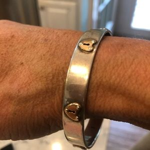 Tiffany & Co. Jewelry - Tiffany's Sterling Silver Bangle with Gold Hearts